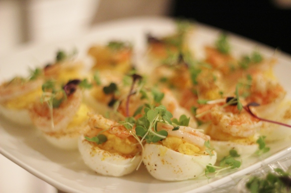deviled eggs with spiced shrimp