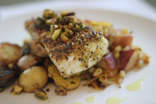 Pistachio-Crusted Halibut